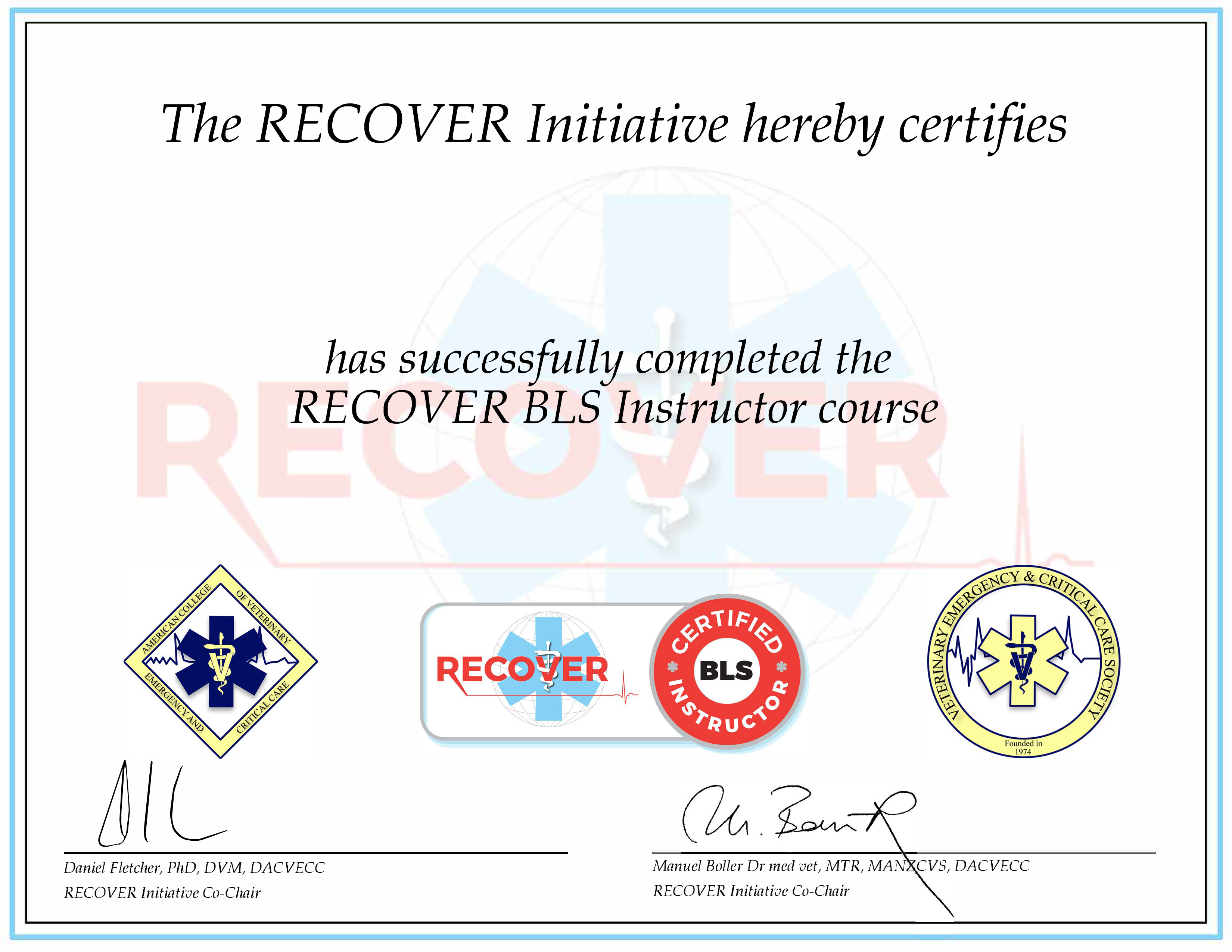RECOVER Certified BLS Instructor