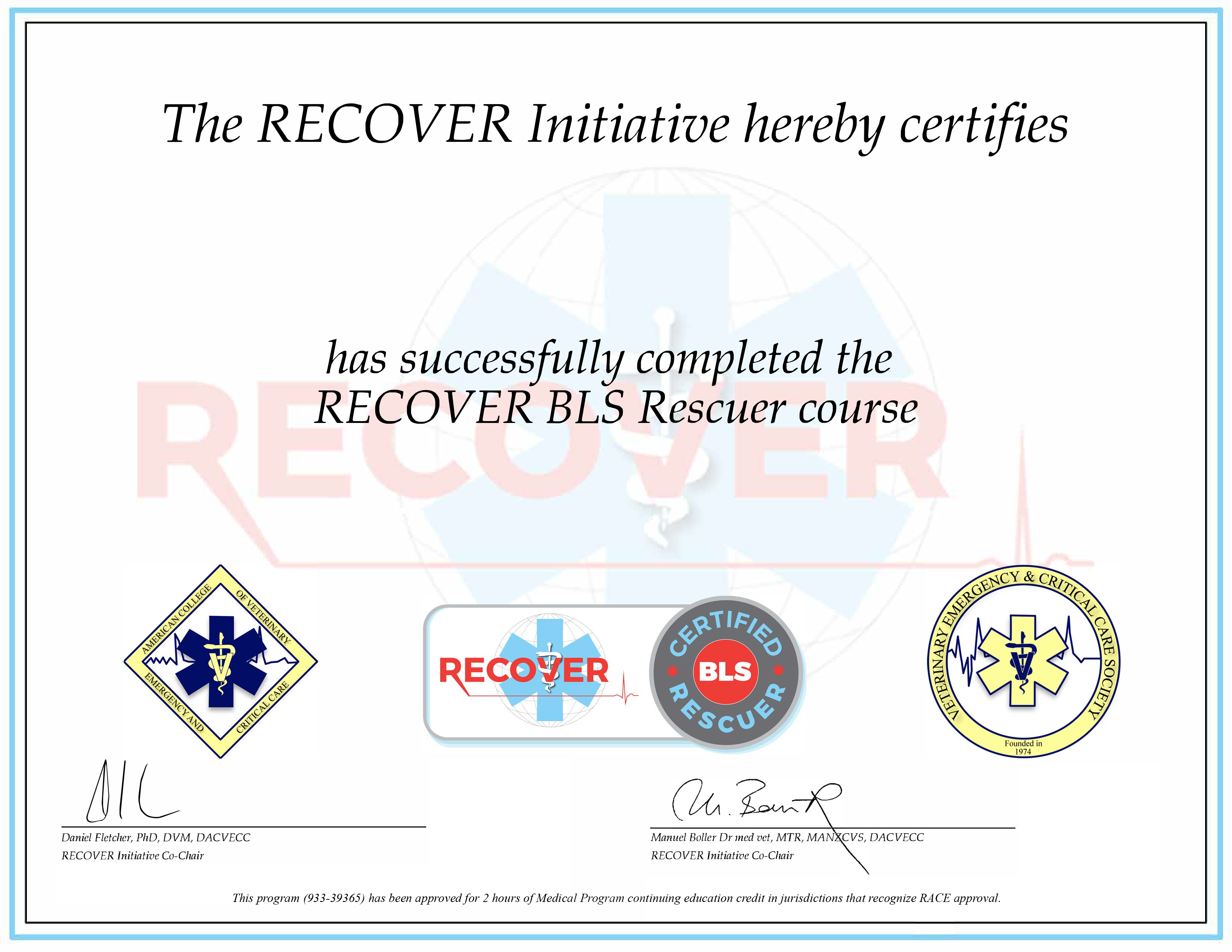 RECOVER Certified BLS Rescuer (RACE)