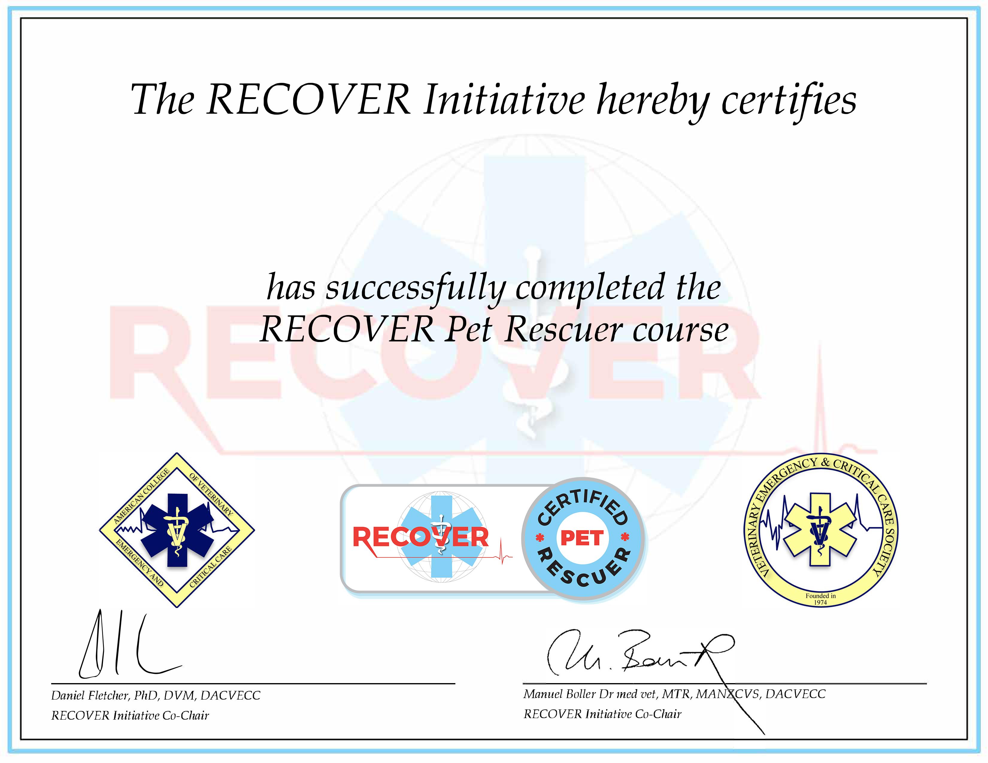 Pet Rescuer Certificate
